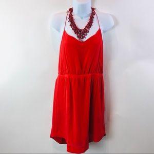 Madewell Womens Dress Vermilion Red 100% Silk 10